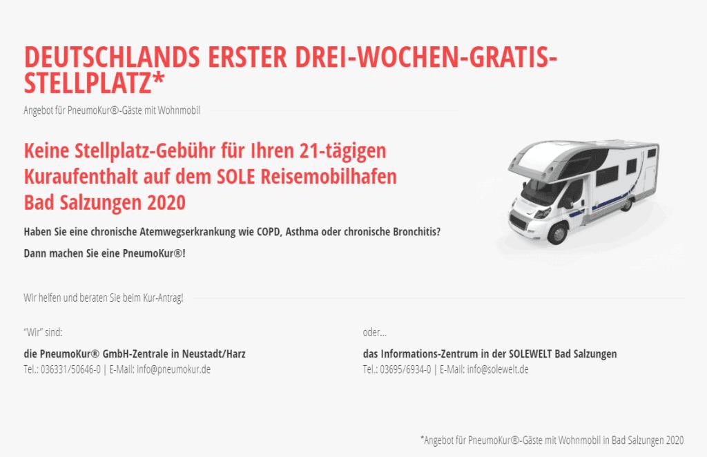 Deutschlands erster Drei-Wochen-Gratis-Stellplatz