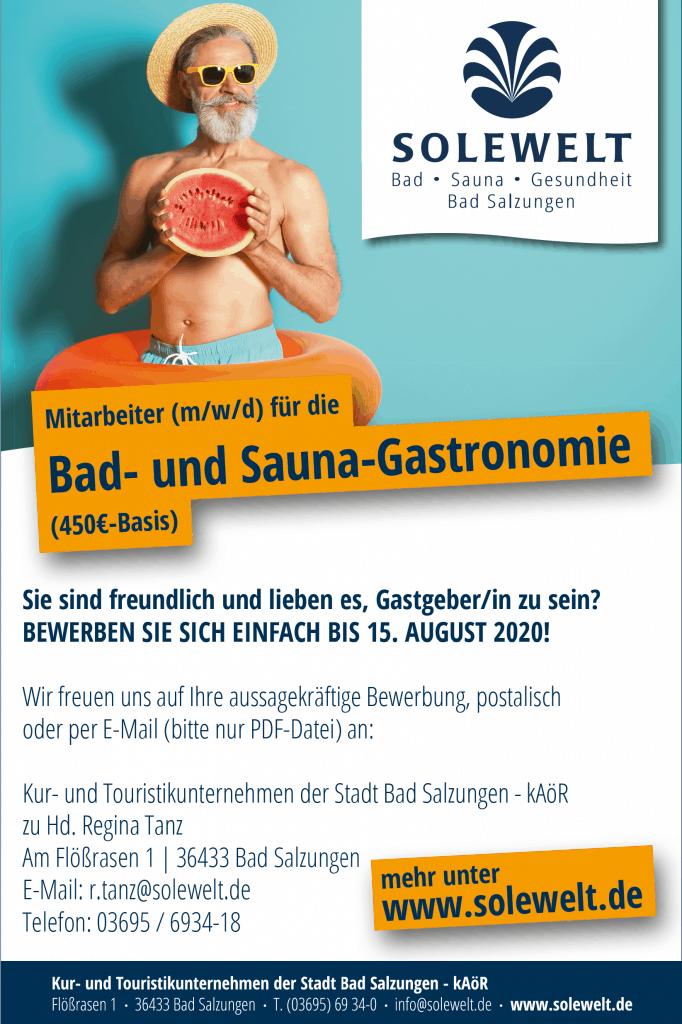 Stellenausschreibung Hilfskraft Gastro 450,00-Euro-Basis